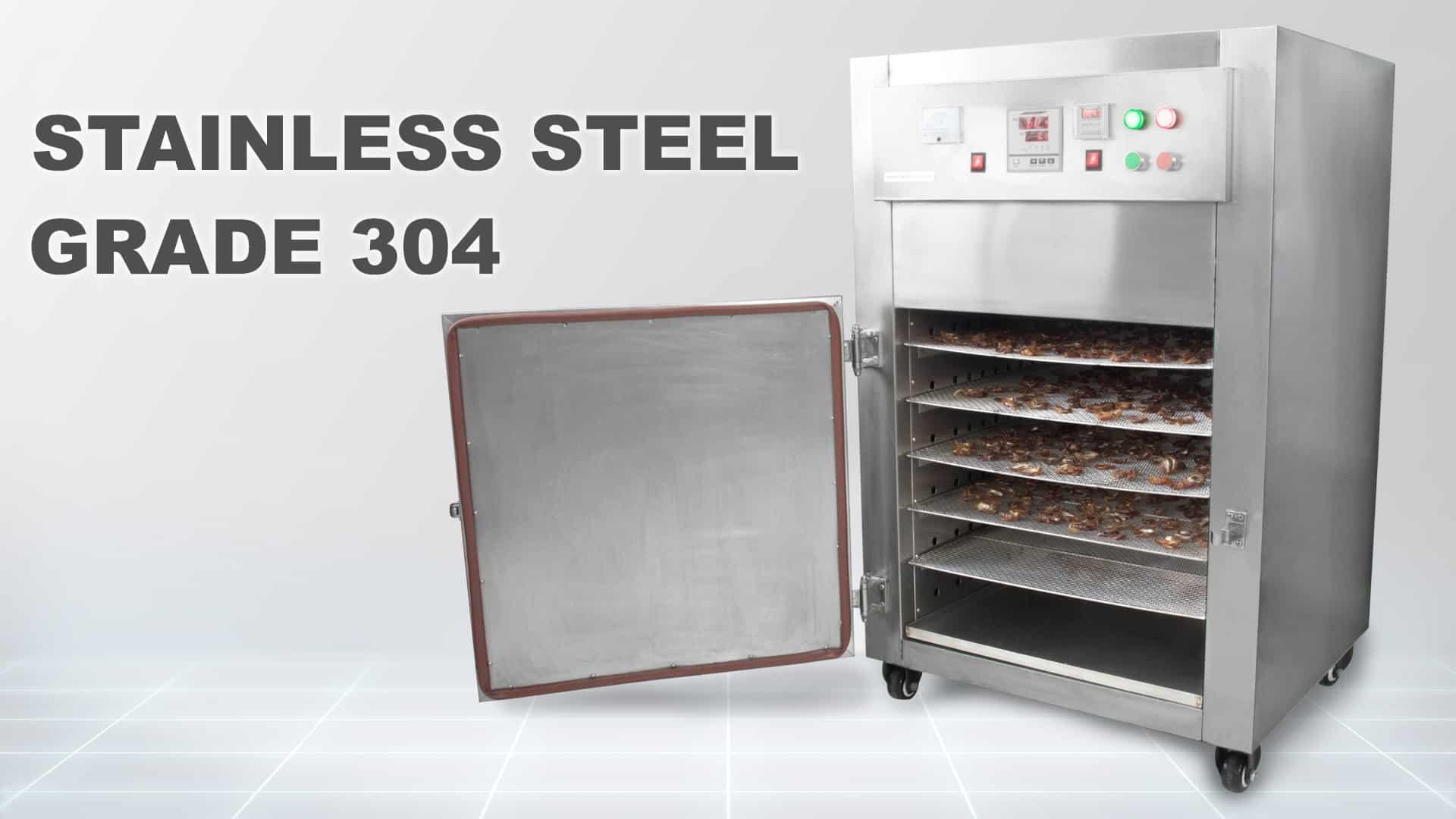 Máy sấy thực phẩm khí nóng công nghiệp GE được làm từ inox 304 tiêu chuẩn thực phẩm