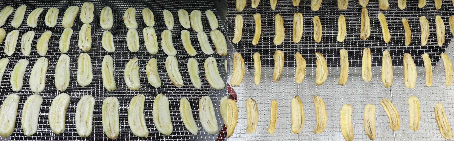 Máy sấy thực phẩm khí nóng công nghiệp GE - Chuối cắt lát trước và sau khi sấy
