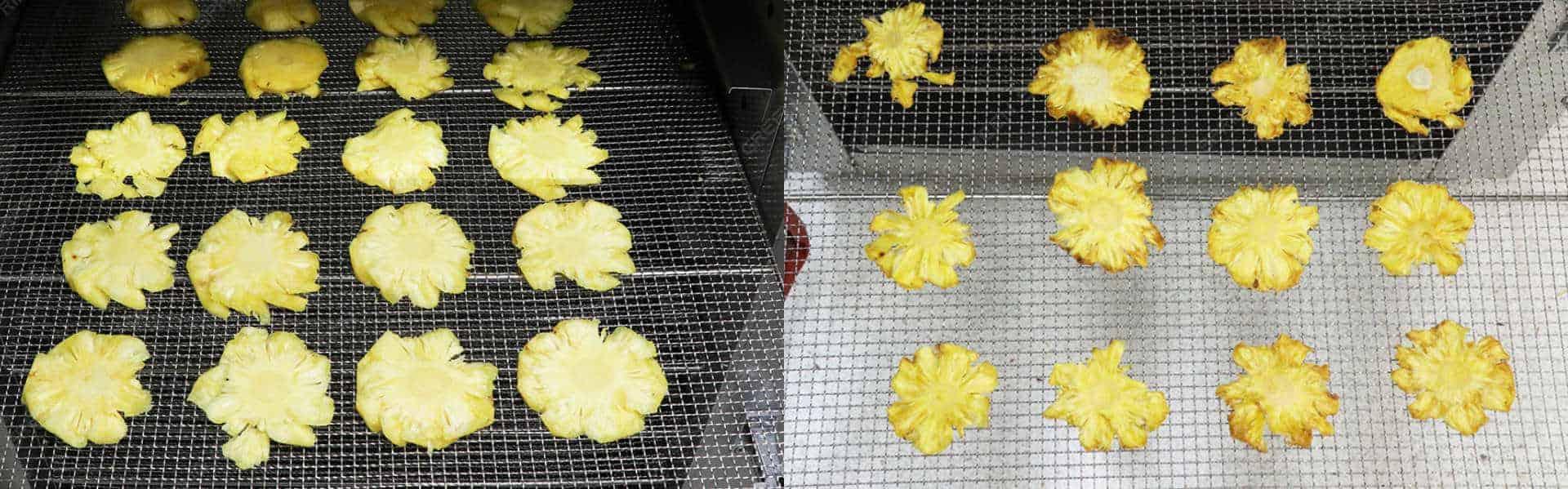 Máy sấy thực phẩm khí nóng công nghiệp GE - Dứa tươi trước và sau khi sấy