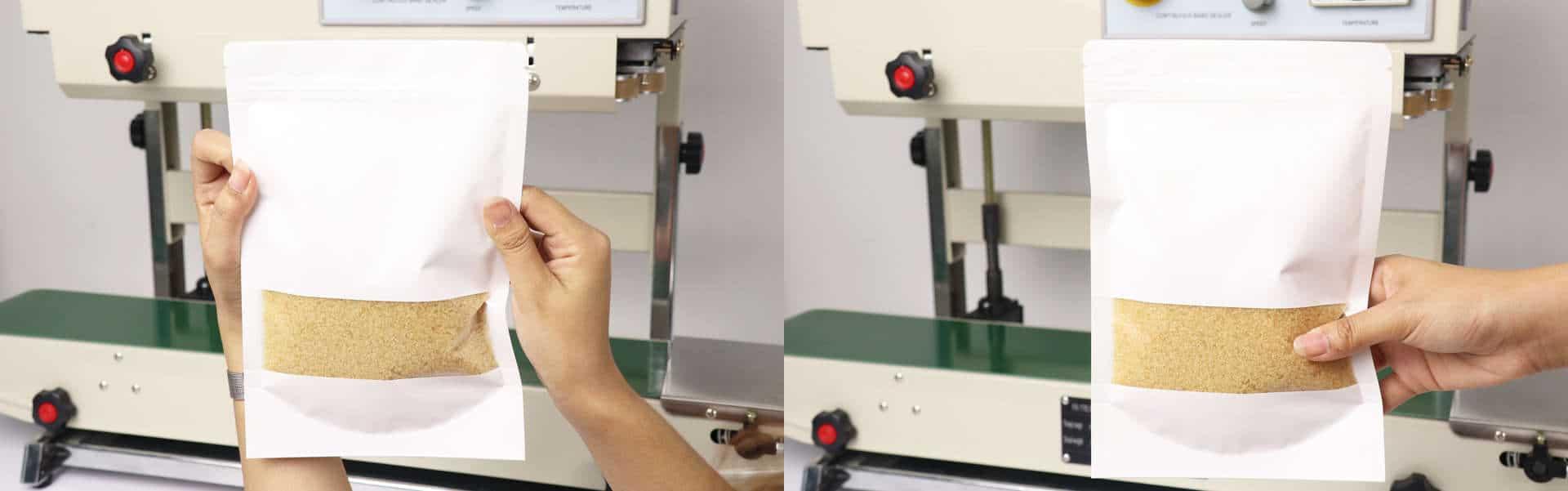 máy hàn miệng túi tự động băng chuyền AS02 - hàn dễ dàng Túi kraft giấy rất dày