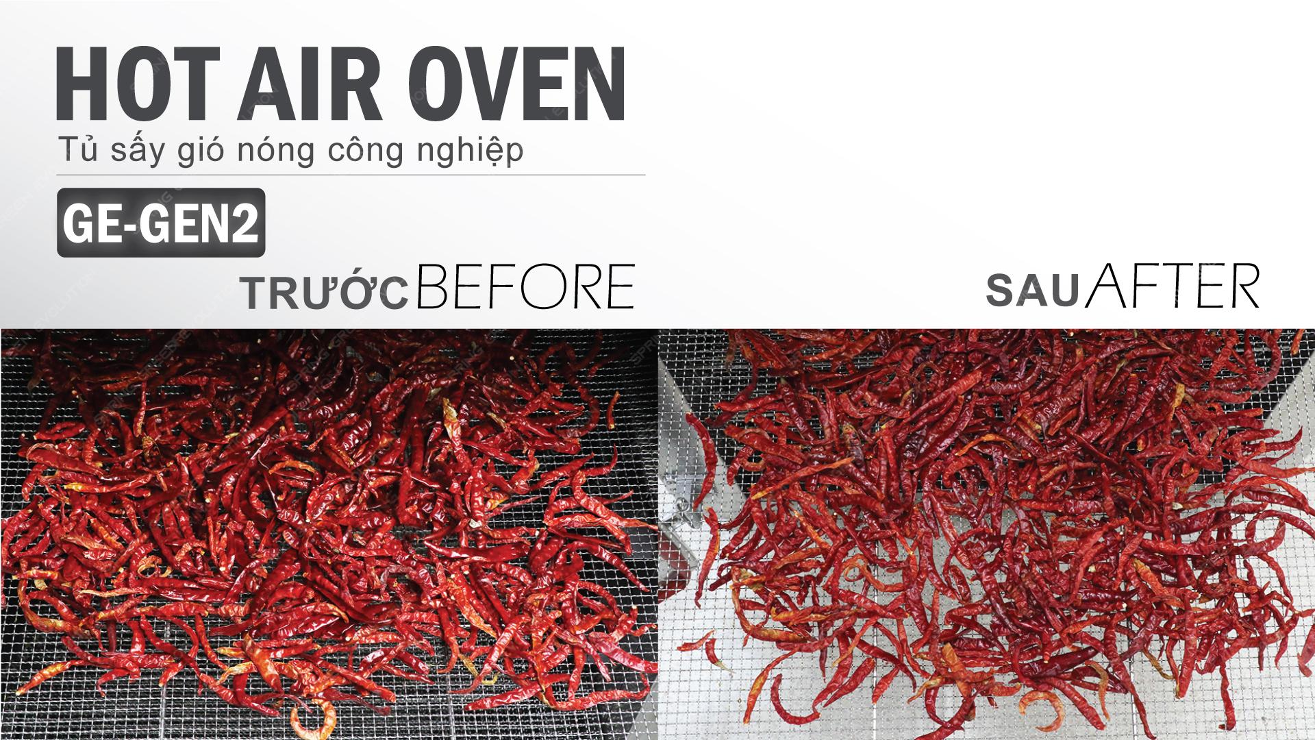 Máy sấy thực phẩm khí nóng công nghiệp GE - ớt tươi trước và sau khi sấy