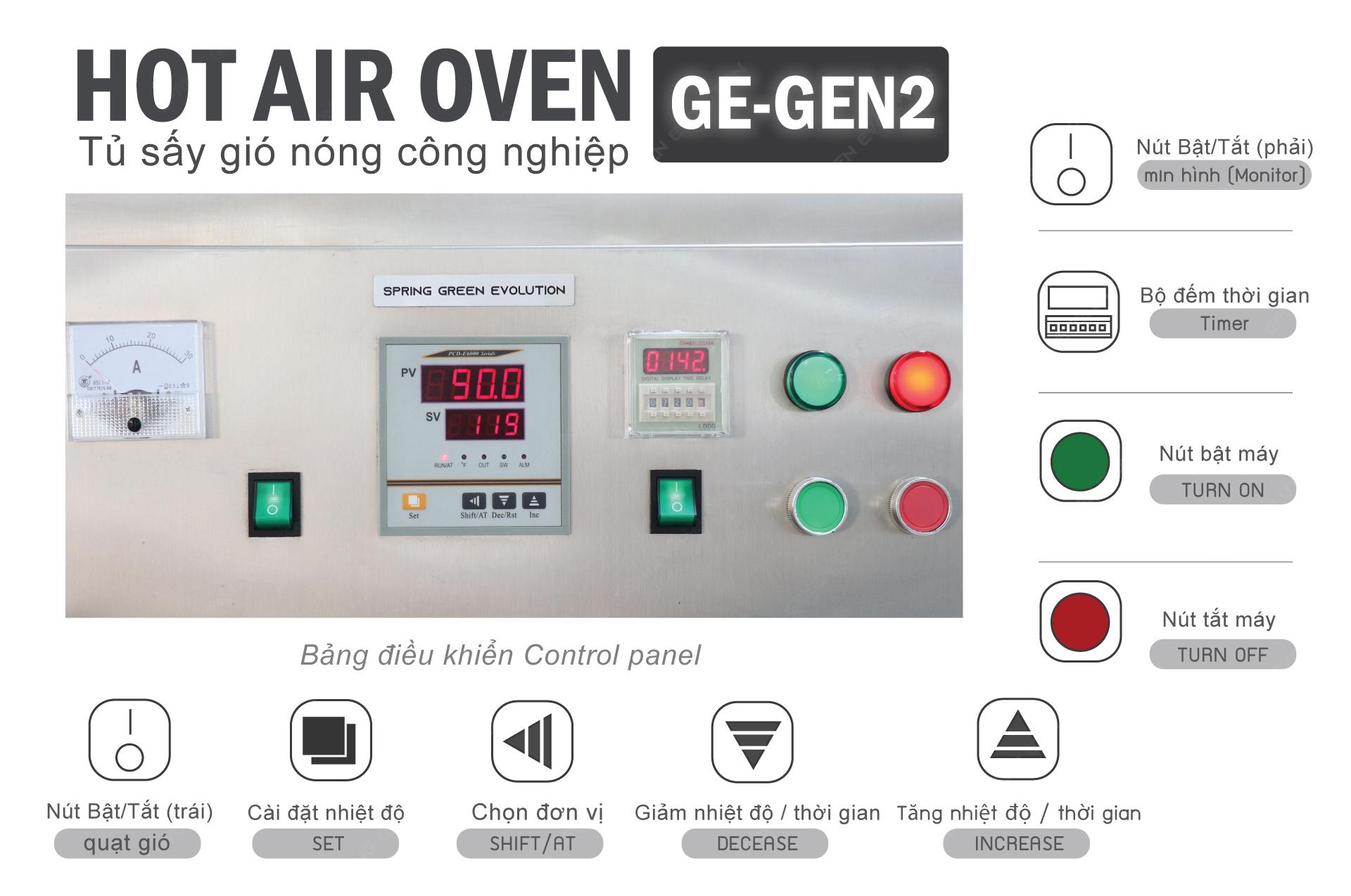 Các nút chức năng và chế độ vận hành máy sấy thực phẩm khí nóng công nghiệp GE