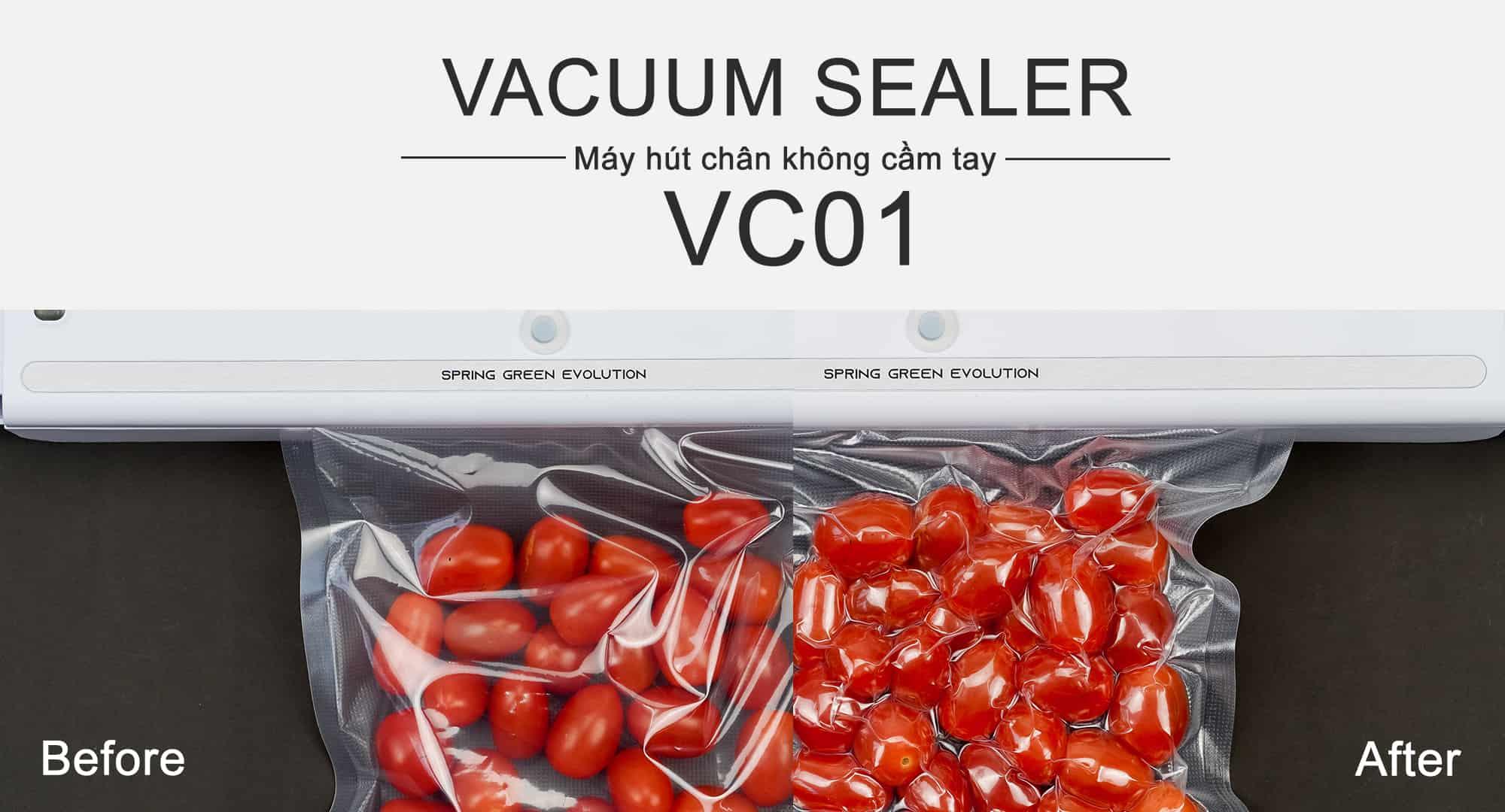 cà chua trước và sau khi hút chân không với máy mini VC01-New