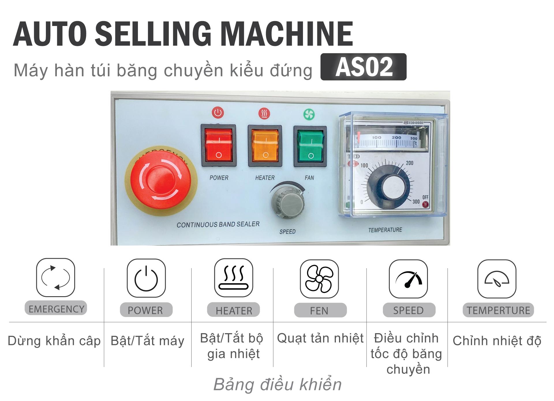 bảng điều khiển máy hàn miệng túi tự động băng chuyền AS02