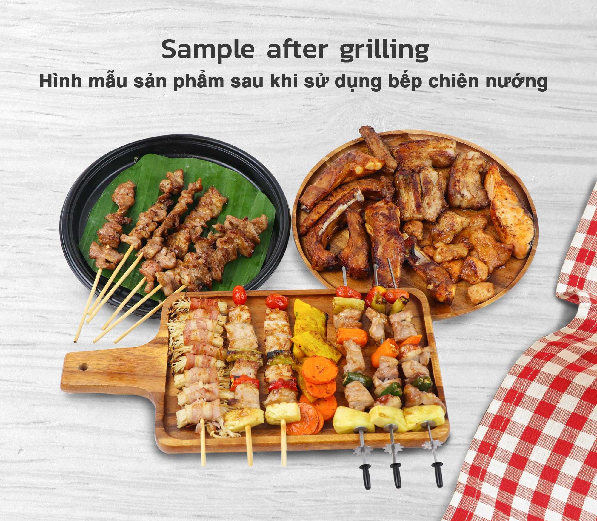 Sản phẩm sau khi sử dụng với bếp chiên nướng không khói BBQ GM-H
