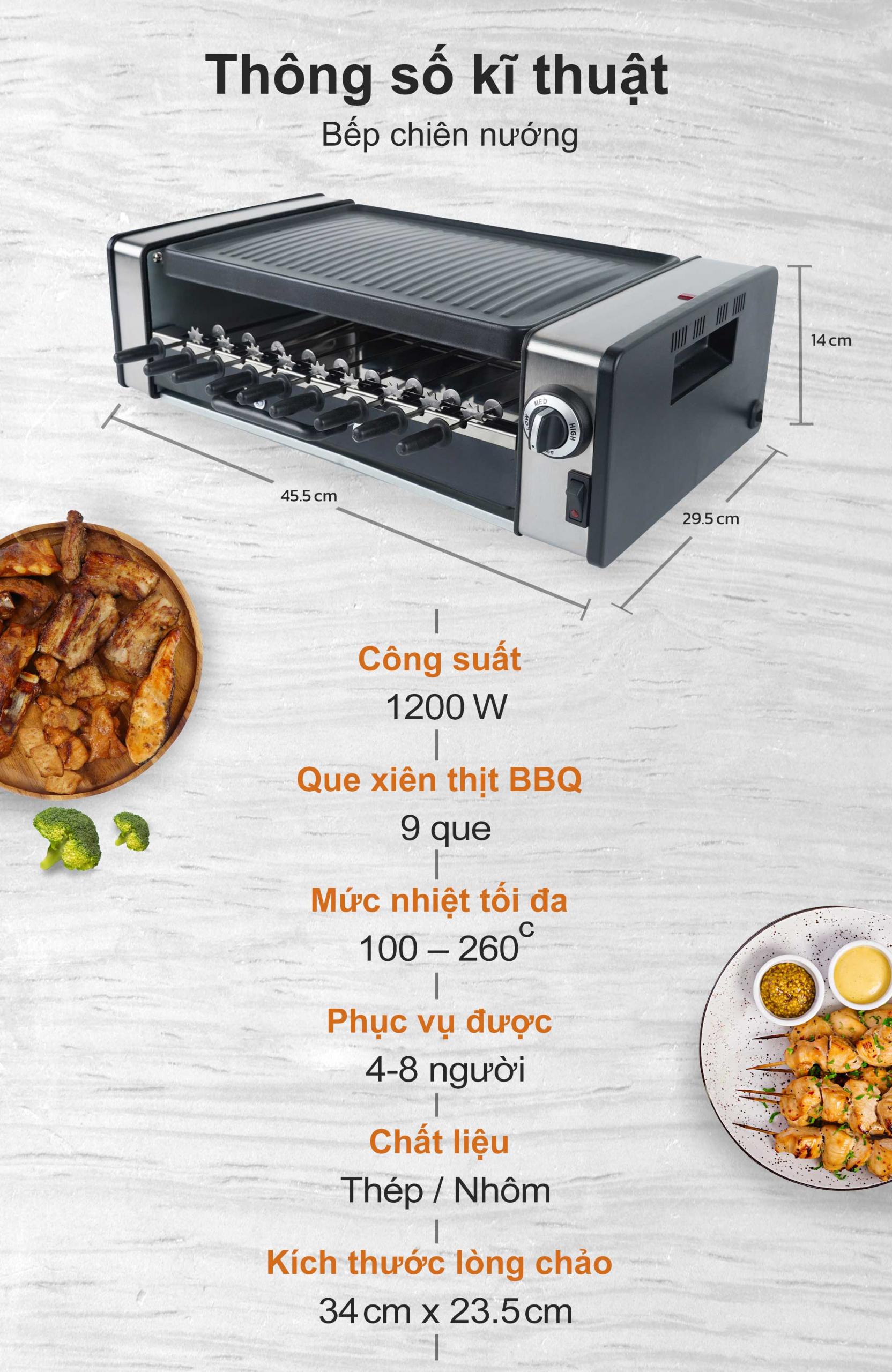 Thông số kỹ thuật bếp nướng BBQ GM-H