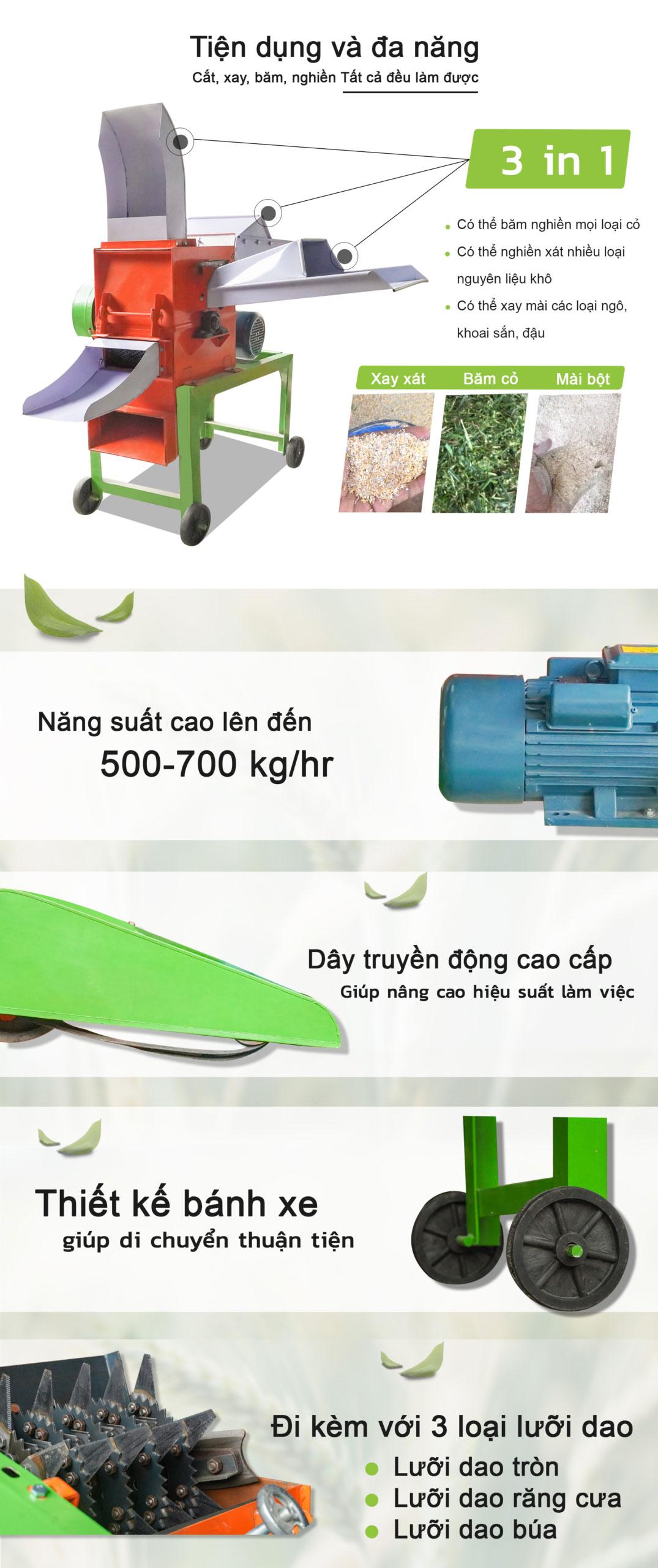Máy nghiền cỏ đa năng CC01-3in1VN