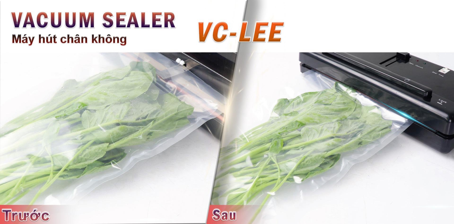 rau cải trước và sau khi hút chân không với vc-lee