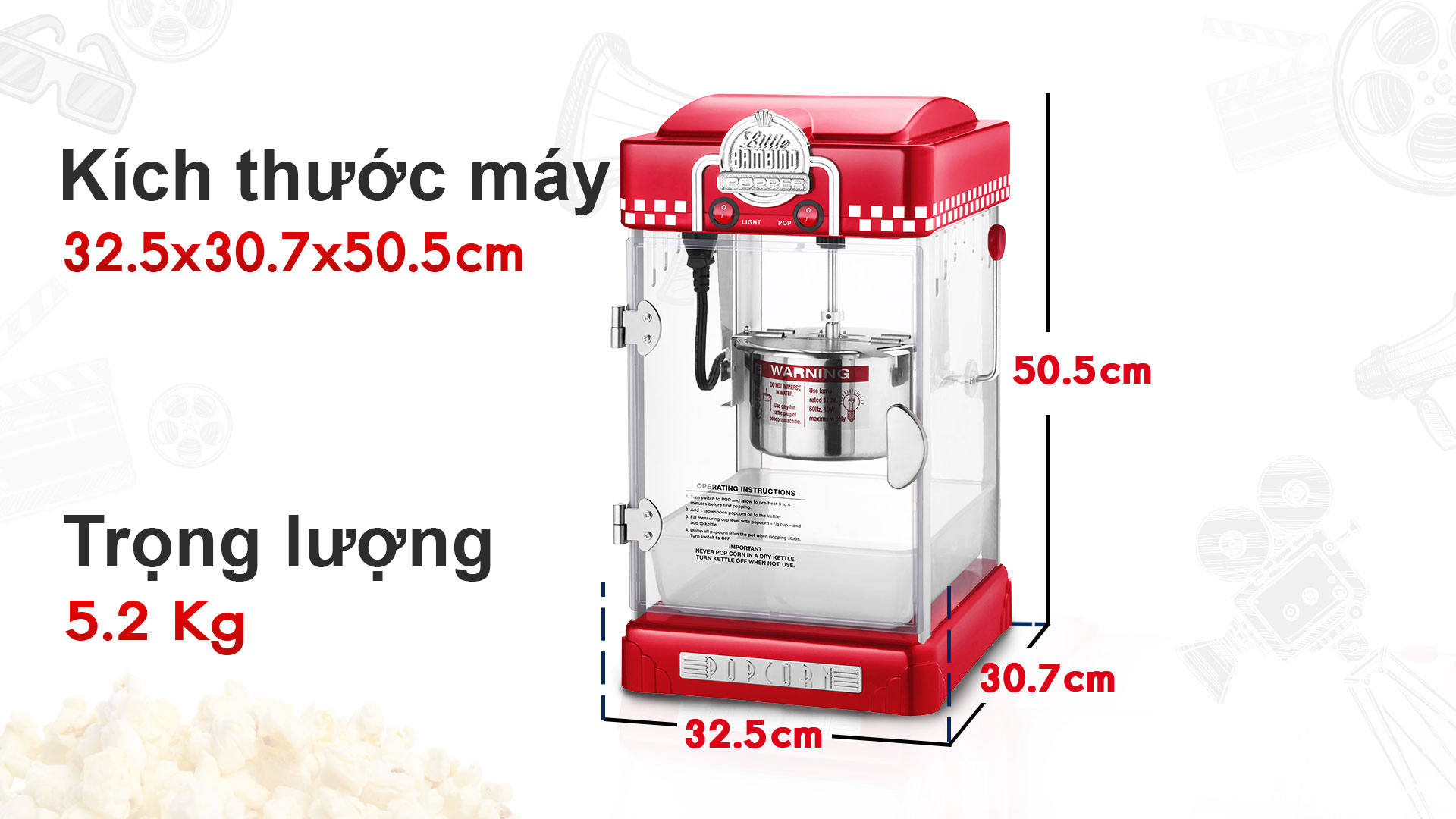 Thông số kỹ thuật Máy làm bắp rang bơ